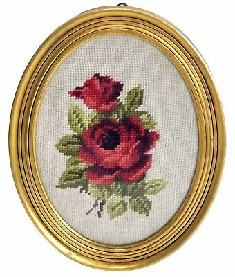 Vintage Wall Hanging Cross Stitch Rose Floral Oval Gilt Wood Frame Red Green Tan