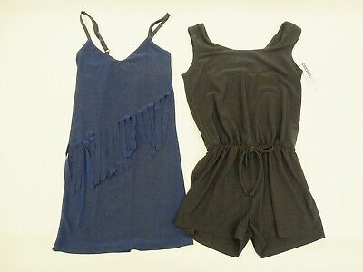 Cheryl Creations Kids Navy Blue Fringe Dress Black Romper Size Small  Lot of 2