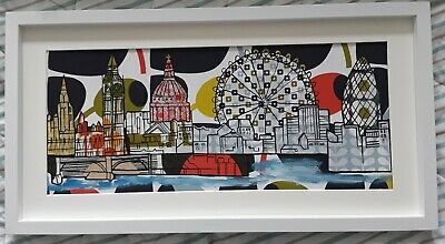 Original retro London skyline picture painting orla kiely stem olive fabric