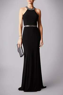 MASCARA NAVY MC181244G Beaded belt gown with open back