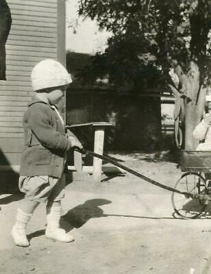 B988-6 Vintage Photo GIRL PULLING ANTIQUE WAGON Early 1900's