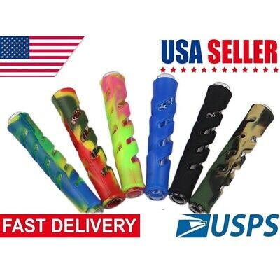 "3.5"" Silicone+Glass Chellum Tobacco Smoking Pipe"
