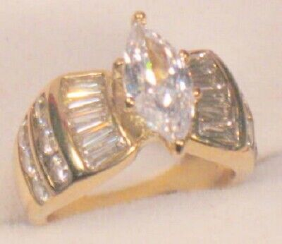 2.75 Ct Marquise cut Solitaire Diamond Engagement Ring Yellow Gold ovr Size 6