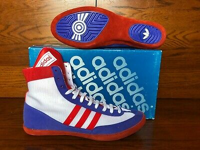 5269b69072668 VINTAGE ADIDAS COMBAT Speed Wrestling Shoes Size 11 Red White & Blue  Deadstock