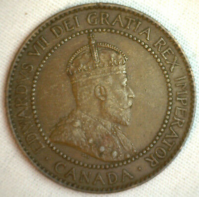 1910 Copper Canadian Large Cent Coin 1-Cent Canada XF #4