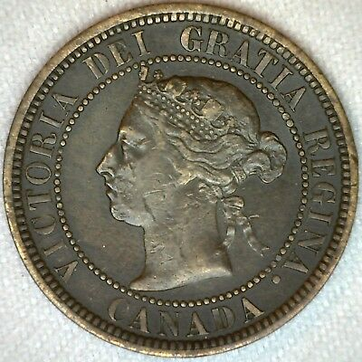 1888 Copper Canadian Canada Large Cent One Cent Coin 1c  Fine K86