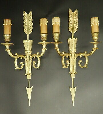 Large Pair Of Sconces, Arrow & Quiver, Empire Style - Bronze - French Antique