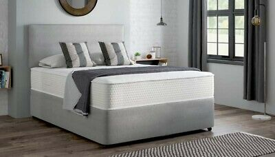 Grey Suede Divan Bed Set - Includes a Pocket Memory Foam Mattress + Headboard