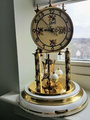VINTAGE Schatz ANNIVERSARY CLOCK  colonial white base and flowers