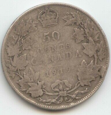 Canada 1919 .925 Silver Fifty Cent Piece Canadian Half Dollar 50c COIN /