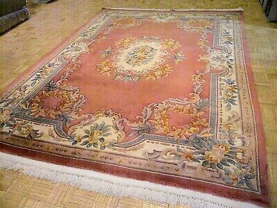 9x12 CHINESE RUG VINTAGE AUBUSSON NICHOLS AUTHENTIC HAND-MADE ORIENTAL RUG 1960s