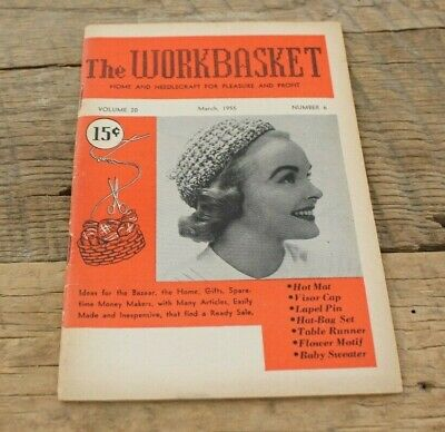 Vintage Booklet Magazine Workbasket Home Needlecraft Volume 20 March 1955 #6