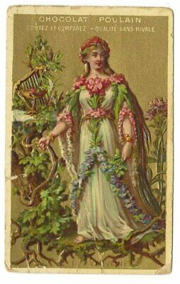 Antique French Gold Victorian Trade Card, Chocolat Poulain, relief (6)