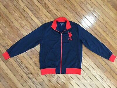 US Polo ASSN Men's Blue / Red Full Zip Sweat Track Jacket Red Big Pony Sz L