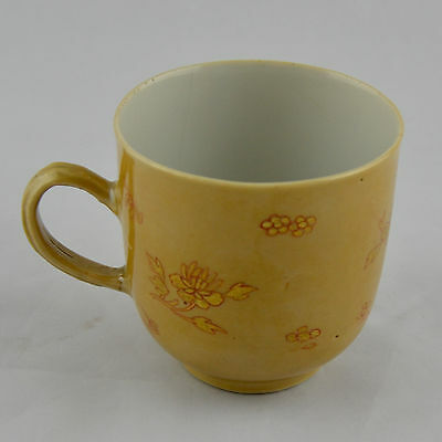 """Chinese Porcelain Coffee cup decorated with flowers on a""""café aux lait"""" ground"""