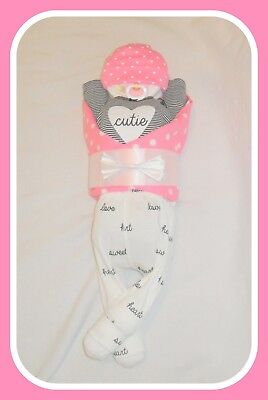 """Diaper Cake- Baby Girl Black And White """"CUTIE"""" Themed-Baby Shower Centerpiece"""