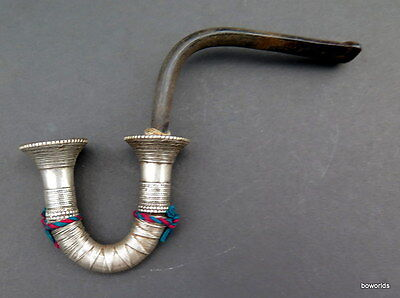 Vintage & rare collectible Silver Horn Smoking Pipe Karen hill tribe Thai gift