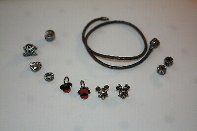 ab5eb2629 PANDORA Purple Double Leather Braided Bracelet with 8 Disney charms & 2  stoppers