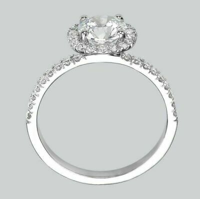 1.00 Ct D/SI1 Natural Diamond Engagement Ring Enhanced Round Cut 18K White Gold