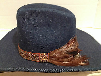 Vintage Mens Denim Feather Cowboy Hat LANNING Made in Canada