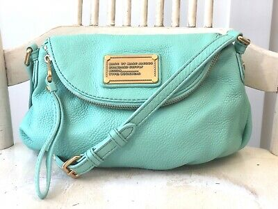 134407b358d0 MARC BY MARC JACOBS Classic Q Mini Natasha Mint Green Leather Hobo  Crossbody Bag