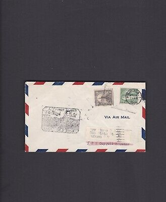 Canal Zone First Flight Cover, 1929, Miami to Cristobal to Guayaquil, Ecuador