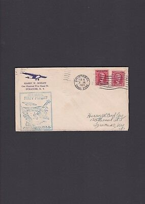 Canal Zone First Flight Cover, 1929, Cristobal to Syracuse via Miami
