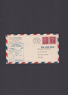 Canal Zone First Flight Cover, 1929, Cristobal to West Palm Beach via Miami