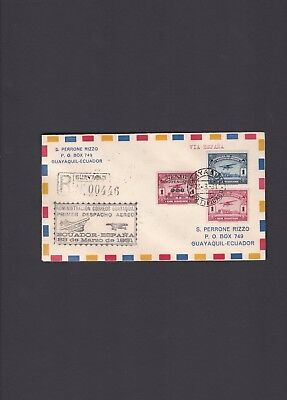 Ecuador First Flight Cover, 1931, via Madrid, Spain. Only 54 covers mailed.