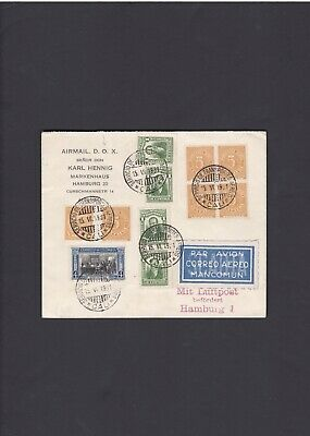 Colombia First Flight Cover 1931 Cali to Barranquilla to Hamburg Nice Franking