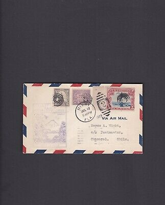 Canal Zone First Flight Cover, 1929, Miami to Cristobal to Chanaral, FAM 9