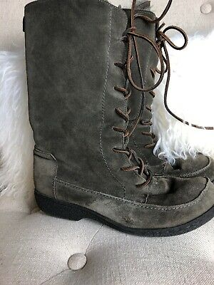 c165e792e567 Sam Edelman Mateo Fur Lined Olive Green Suede Winter Lace Up Boots Sz 9.5
