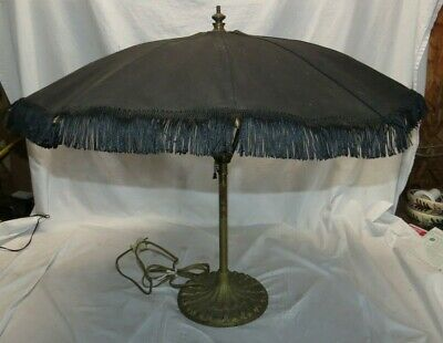 "RARE 26"" Antique Cast Iron Brass Umbrella Shade Lamp Opens & Closes"