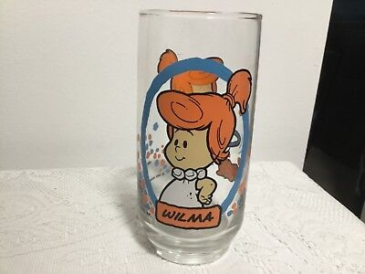 The Flintstones Kids Wilma Glass Cup 1986 Pizza Hut Hanna-Barbera