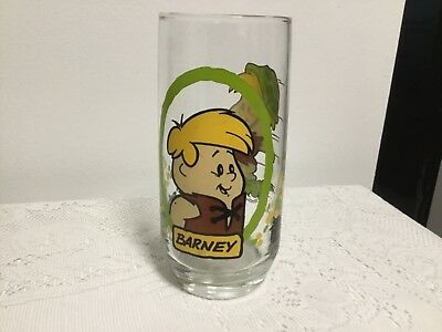 The Flintstones Kids Barney Glass Cup 1986 Pizza Hut Hanna-Barbera