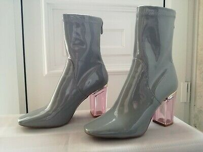 b2b9d4e2f3a Public Desire Shiny Grey Ankle Boots Pink Perspex Heel Size 5 UK Only Worn  Once