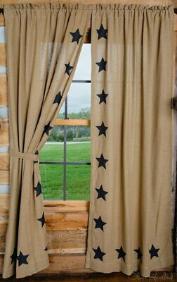 Deluxe Burlap Natural Tan Stencil Star Panel