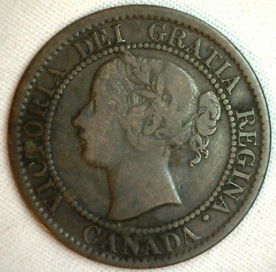 1859 Copper Bronze Canadian Large Cent One Cent Coin Good Variety Dbl Pnch #2 #4