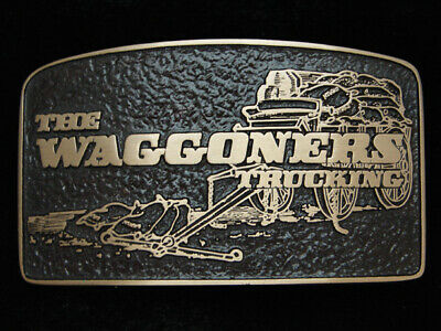 PH13129 *NOS* VINTAGE 1980s **THE WAGGONERS TRUCKING** SOLID BRONZE BELT BUCKLE