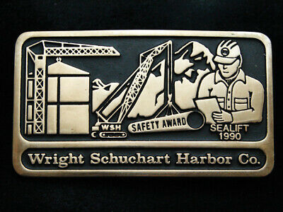 Pd15144 *Nos* Vintage 1990 **Wright Schuchart Harbor Co.** Solid Brass Buckle