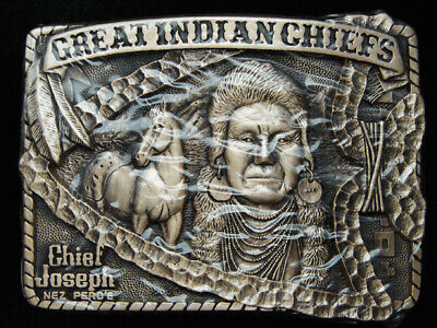 Pg15166 *Nos* Vintage 1983 *Great Indian Chiefs Chief Joseph* Solid Brass Buckle