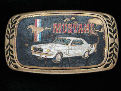 Ph13102 Vintage 1980 **Mustang** Car Commemorative Solid Brass Belt Buckle