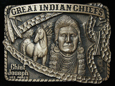Pg15167 *Nos* Vintage 1983 *Great Indian Chiefs Chief Joseph* Solid Brass Buckle