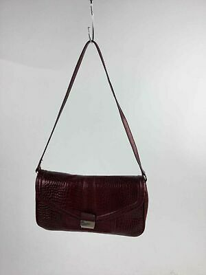55d1bf429ed Calvin Klein Wine Red Croc Embossed Faux Leather Red Leather Strap Shoulder  Bag
