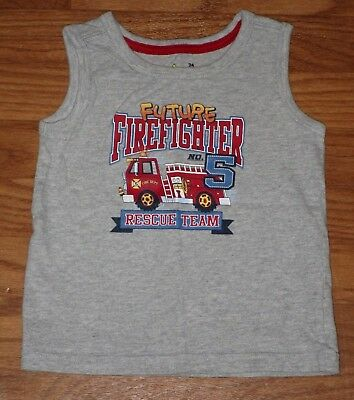 """Jumping Beans Baby Boys Size 24 Mo. """"FUTURE FIREFIGHTER"""" Tank Top Gray EUC"""