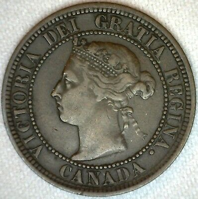 1888 Copper Canadian Canada Large Cent One Cent Coin 1c VF Very Fine K84