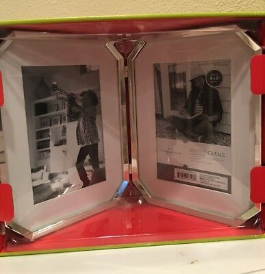 Twin Hinged Silver Finish Picture Frames 4 X 6 By Thershold Nib