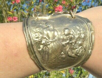 Antique Sterling Silver Cuff Bracelet Wide Spoon Ring Victorian Rare 925 Figures