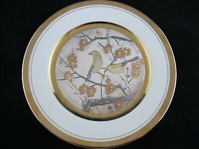 Art of Chokin DECORATIVE PLATE Sparrows in Cherry Blossoms, Etched Copper Gold