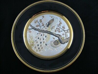 Art of Chokin DECORATIVE PLATE Peacocks, Etched Copper, 24K Gold, Silver
